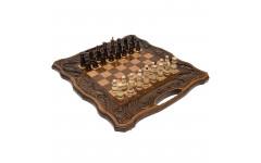Шахматы + нарды резные Афинские 50 с ручкой, Haleyan